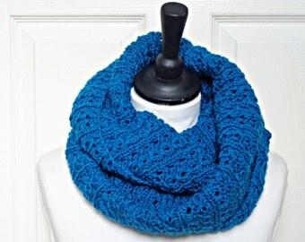 knit infinity scarf, teal infinity scarf, turquoise loop scarf, ladies loop scarf, uk scarves, winter scarf, winter accessories