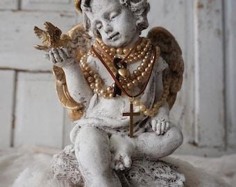 Cherub angel blue bird statue French Santos inspired handmade crown adorned angelic figure shabby cottage chic home decor Anita Spero Design