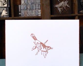BIRD, Card, Handmade, Copper, Embossed, Vintage Image, White, Folded Card, Envelope, Copper Edges, Branch with Leaves