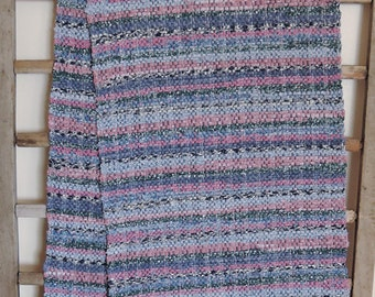"""Hand Woven Table Runner -  Blue Patchwork Cottons with Blue Hem 14"""" x 76"""""""