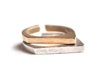 Adjustable Geometric Ring. Silver and Gold. Original Casted in Brass or Sterling Silver. Pythagore Ring