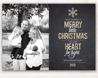 Photo Christmas Cards, Have Yourself a Merry Little Christmas, Holiday Cards, Custom Christmas Printable Christmas Card, Gold Christmas Card