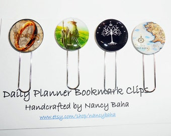 Lord of the Rings Book Clips,  Planner Book Clips, Book Clip, Journal Bookmarks, Daily Planner Accessories, Gift for Book Club, Hobbit Clips