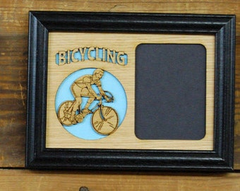 5x7 Bicycling Picture Frame, Biker Picture Frame, Bicyclist Photo Frame, Cyclist Gift, Custom Rustic Wood Photo Frame, Holds 3x4 Picture