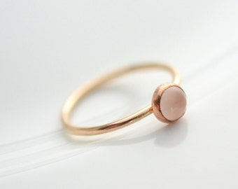 Gold Rose Quartz Ring // 14k Yellow Gold Filled Rose Quartz Ring // 5mm Rose Quartz Gold Ring // Rose Quartz Stacker Ring // Gold Pink Ring