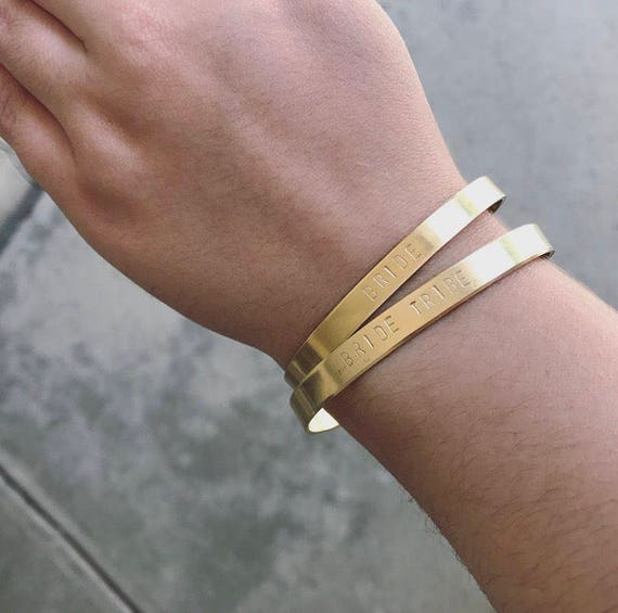 Bride Tribe Handstamped Cuff Bracelets