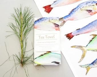 Salt water fish print kitchen towel, hand painted watercolor art, beach house decor, rustic decor, unique gift, gift for him,  tea towel
