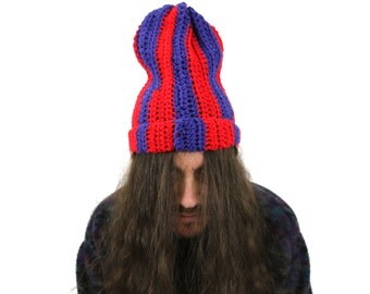 True Vintage Handmade Large Knit Ski Cap Blue & Red