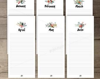 Printable Birthday Calendar •Perpetual Calendar • Floral Bouquets •Country Flowers • DIY Printable