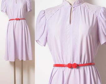 70s Dress, vintage Purple Dress, Vintage lavender dress, Vintage secretary dress, vintage day dress, Spring Summer Dress, Aline dress - S/M