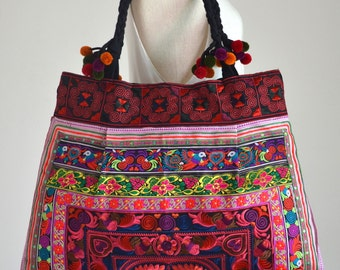Hill Tribe Embroidered Shopping Tote Bag Hmong Shoulder bag with Pom Poms Cotton Straps HTB23