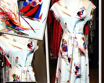 Vintage White Abstract Print Jersey Dress FREE SHIPPING
