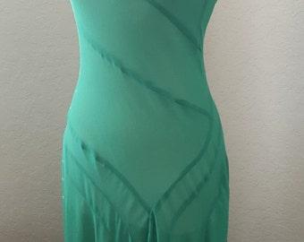 Vintage 1930s Green Silk Dress