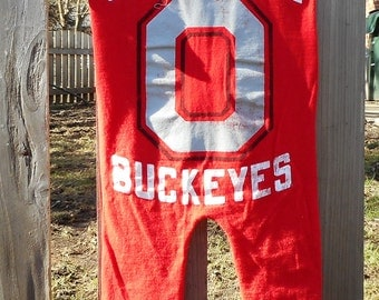 Ohio State University Baby Buckeyes Children's Upcycled/recycled t-shirt romper size 12 months