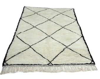 9'X6' ft / Handmade Moroccan rug Beni Ourain 100% Wool / Azilal Rug / Boucherouite Rug / Beni Ouarain / Moroccan Kilim