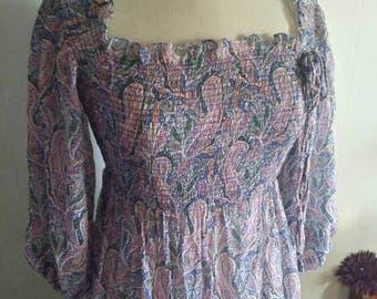 Vintage 70's Pink Periwinkle Paisley Print Boho Smocked Maxi Dress OSFA Small to Large