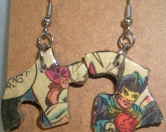 Avengers Comic Book Recycled Puzzle Dangle Earrings