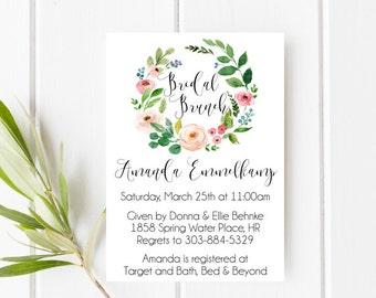 Bridal shower invitation, Bridal brunch invitation, Blush and greenery invitation, Floral wreath invitation, Spring wedding, Garden wedding