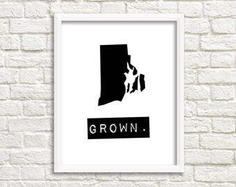 Rhode Island home sign, black and white prints, Rhode Island decor, personalized home decor, state signs, Rhode Island state, map art