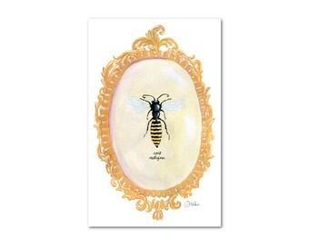Vintage-Inspired Bumblebee Print - 8x10  Gouache Fine Art PRINT