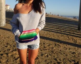 Off the shoulder sweatshirt with serape pocket (unisex cut)