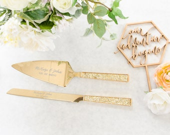Personalized Kate Spade Simply Sparkling Gold Wedding Cake Knife And Server Set 2 PC