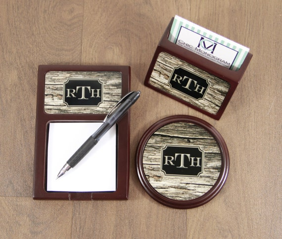 Desk Set for Dad Christmas Gift Wood Mahogany Desk Accessories Set Sticky Note Holder Coaster & Business Card Holder Promotion New Job