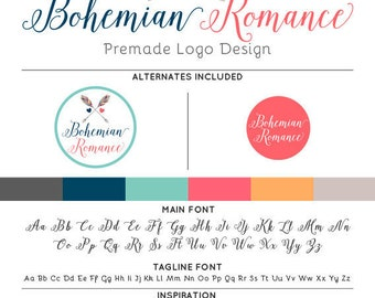 Boho Arrows Logo Watermark Premade Design