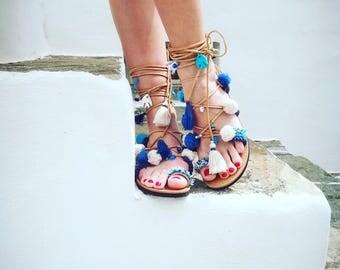 "RiRiPoM, Boho Sandals, Pom Pom Sandals, Gypsy Sandals, Tassels Sandals, Τie Up Gladiator Sandals,Greek Sandals,Semi Precious Stones,""Sifnos"""