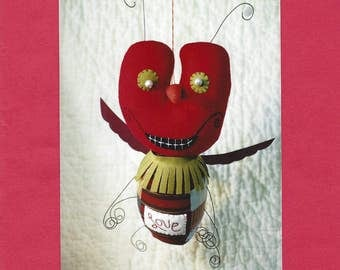 The Love Bug - Valentine Ornament - Sewing Pattern - Harvest Moon Designs by Valerie Weberpal