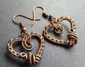 Heart Earrings, Heart Jewelry, Dangle Earrings, Copper Jewelry, Copper Earrings, Romantic Gifts for Her, Valentines Day Jewelry,Gift for Her