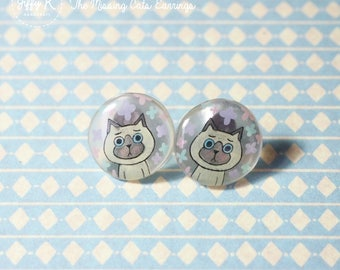Hand drawn shrink plastic jewelry - BAMBI The Missing Cats Stud Earrings {Ready to Dispatch}