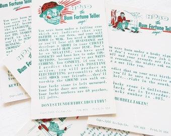 8  Hobo the Bum Fortune Teller Cards dated 1966 Original Unused Exhibit Supply Old Vending/Arcade Machine Cards 8 assorted