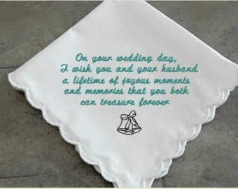 Wedding Handkerchief for the Bride, mother of the bride, mother of the groom, wedding message,  personalized gift, custom gift, gift for her
