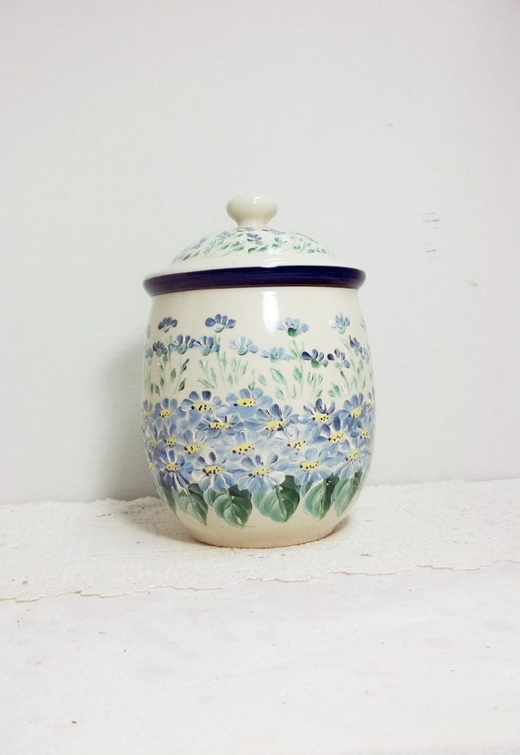 Canister Jar Cookie Jar Kitchen Storage Blue And White