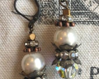 vintage inspired swarovski pearl and crystal earrings
