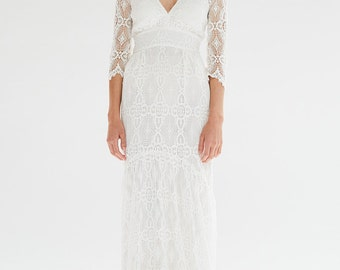 Bohemian White French Lace Rena Wedding Gown with low V back and Train
