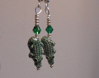 Tiny painted clay Alligator Earrings Crocodile Earrings Item No. 687