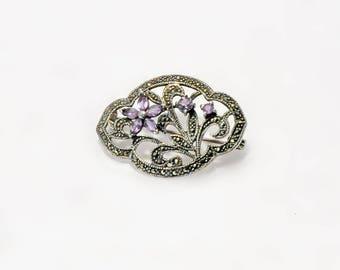 Sterling Silver Amethyst Marcasite Brooch Pin Vintage Jewelry Flower Shape