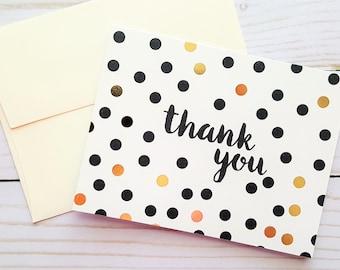 Thank You Card, Gold Foil Card, Polka Dot Card, Foil Card, Blank Card, Foil Thank You Card, Blank Thank You Card
