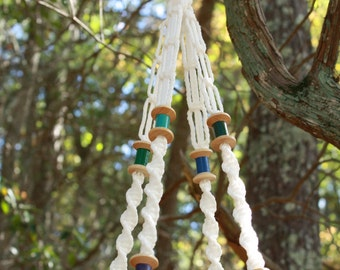 White Macrame Plant Hanger with Wooden Spool Beads