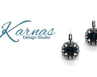 MONTANA HALO 8mm Drop Leverback Earrings Made With Swarovski Elements *Pick Your Finish *Karnas Design Studio *Free Shipping*