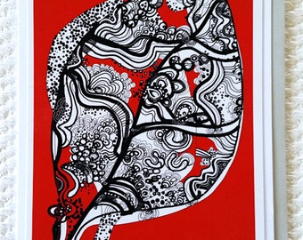 Greeting cards (x5) Name: 'red Leaf'