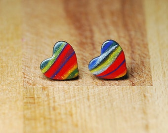 Stud Earrings - 10mm Polymer Clay Marbled Hearts - Unusual Earrings Gift For Her - Silver Plated Posts - Sweetheart Jewellery - Anniversary