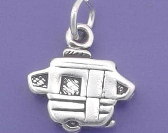 POP UP Camper Charm .925 Sterling Silver Travel Trailer, Caravan Pendant - lp3572