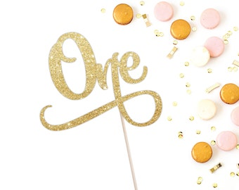 First Birthday Cake Topper - One Cake Topper - Sparkly Gold, customize to any colour (Cursive One Cake Topper)