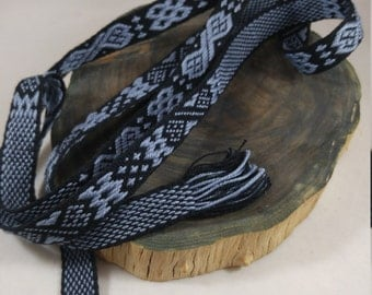 Inkle weaving ribbon, strap, band, or trim - Handwoven - SCA, LARP, Nordic, Baltic, Viking, and Cosplay - Black and Blue