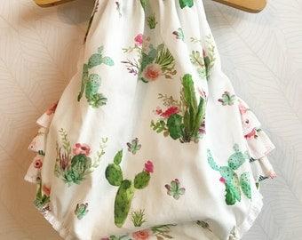 Floral Dreams Ruffled Baby Girl Romper. Baby Girl Romper. Bubble Romper. Sun Suit. Baby Romper.