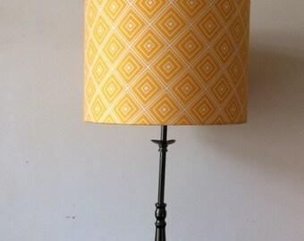 YELLOW GEOMETRIC Diamonds Pattern, Robert Kaufman Fabric Handmade Lampshade 20cm 30cm 40cm Drum Ceiling Pendant Table Lamp, Home Gift