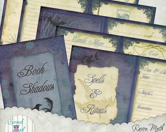 Book of Shadows, Journal Pages, Printable Stationery, Digital Paper Craft Supplies, Scrapbooking - 'Raven Myth'